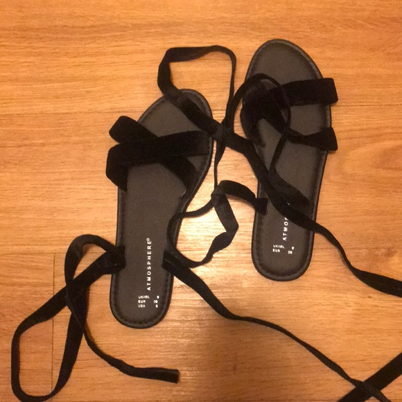 6c3295cc09c Primark velvet lace up flat sandals
